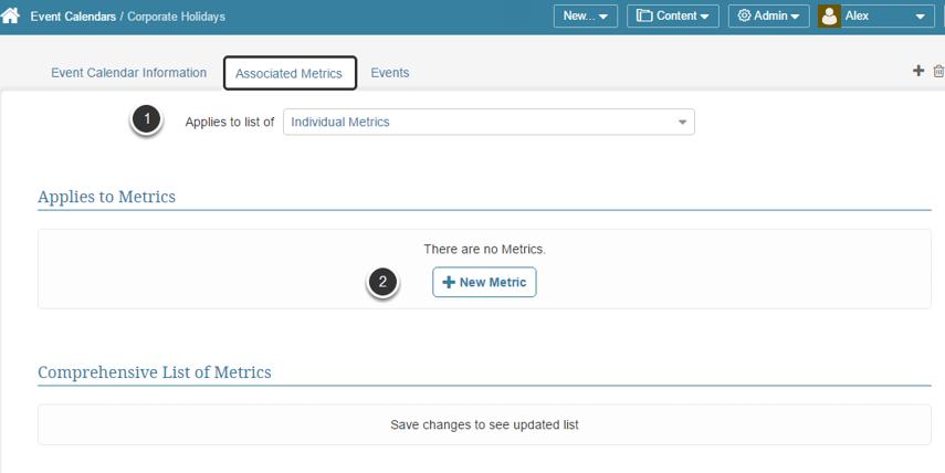 Open Associated Metrics tab