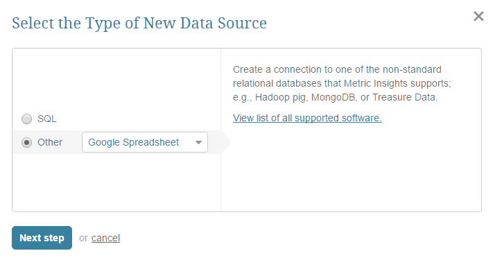 """Select """"Other"""" Data Source Type and choose """"Google Spreadsheet"""" from the drop-down list"""