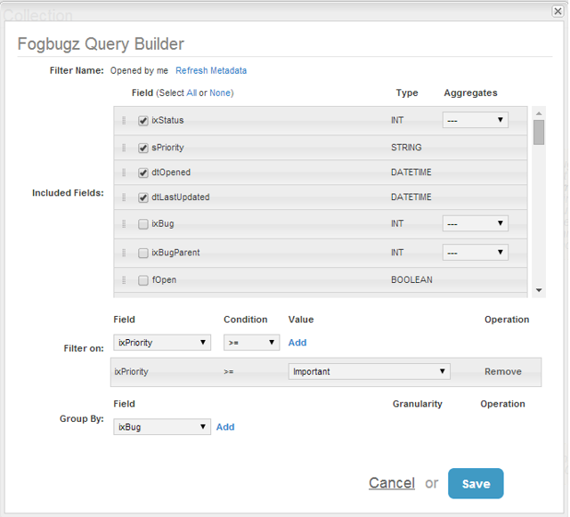 Fogbugz Query Builder is called by Visual Editor link