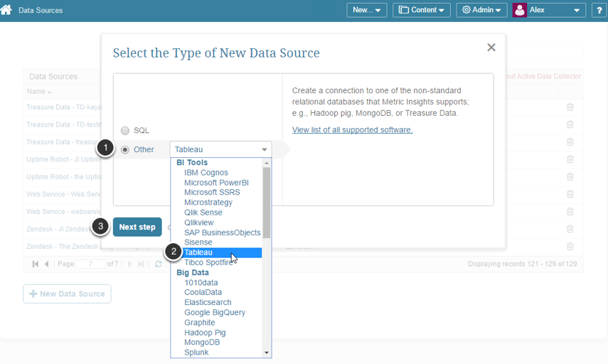 """Define """"Tableau"""" as a new data source"""