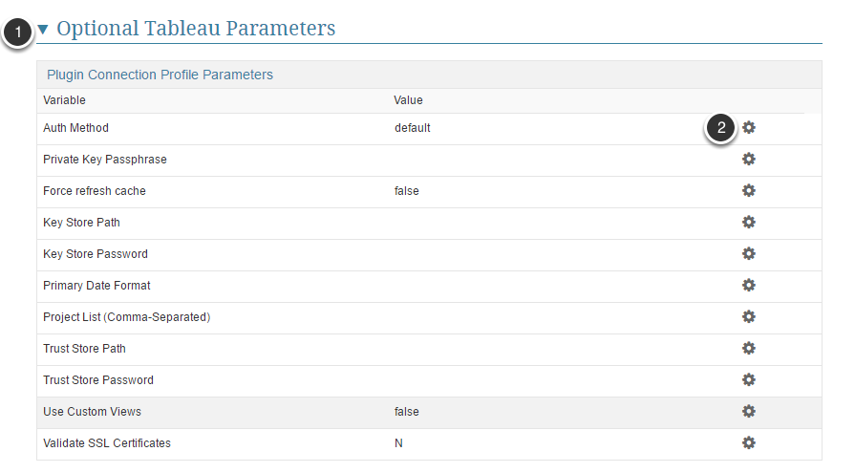 Add/Change the Optional Tableau Parameters