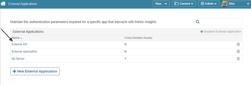Access Admin Menu > Credentials > External Applications