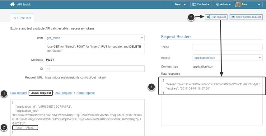 Get API Token using JSON