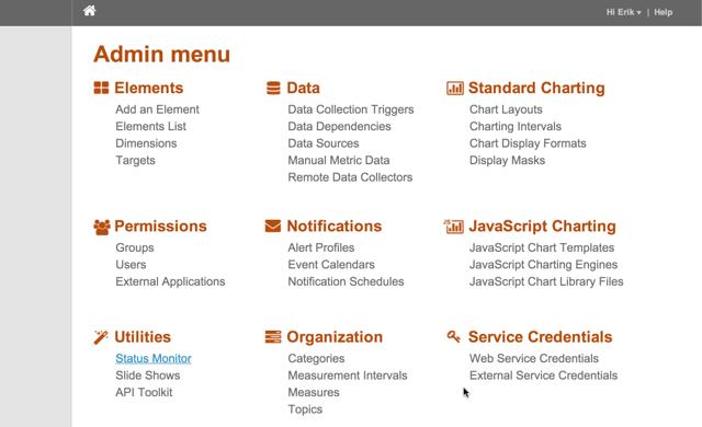 Status Monitor via Admin menu