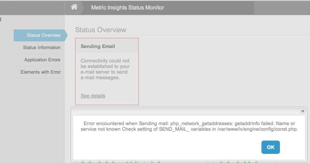 Status Monitor for Sending Email error