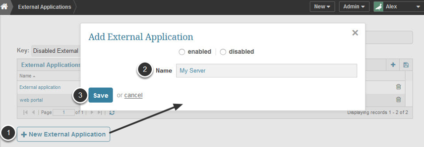 Access list of existing 'External Applications' from Admin > Credentials > External Applications