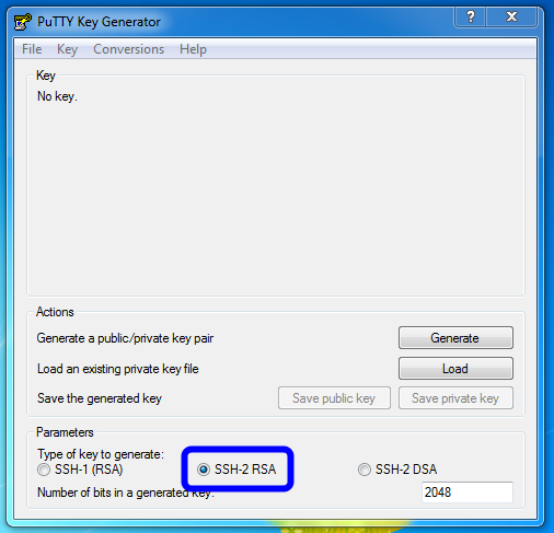 Use PuTTYgen to generate a public/private key pair