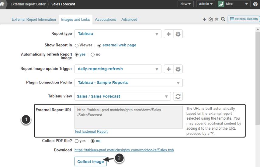 External Report URL