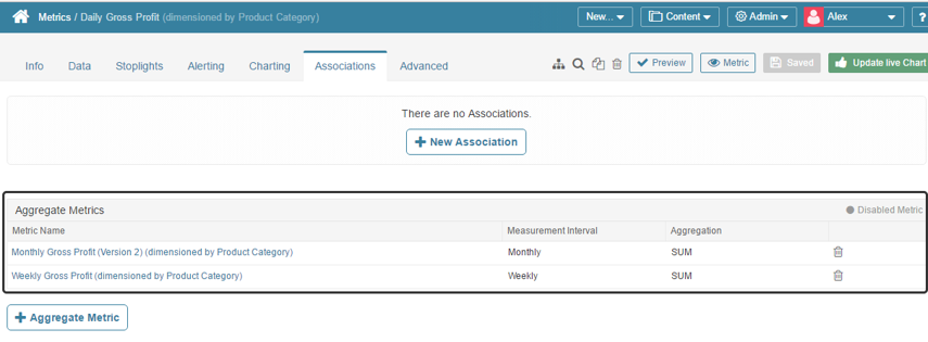 Aggregate Metrics display in table