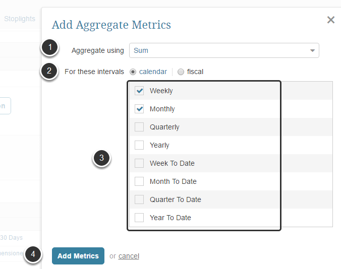 Select the Aggregates you would like to create