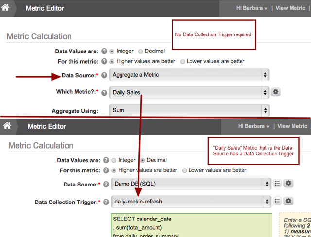 No Data Collection Trigger is set on Aggregate Metric's Editor