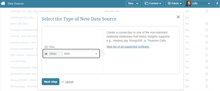 """Select """"Other"""" Data Source Type and choose """"RSS"""" from the drop-down list"""