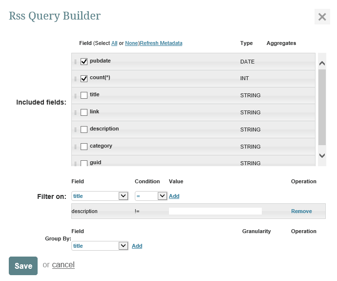 Using the RSS Query Builder.