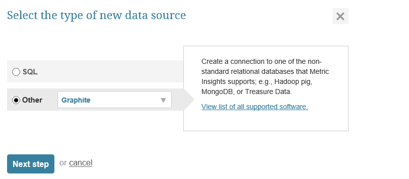 """Select """"Other"""" Data Source Type and choose """"Graphite"""" from the drop-down"""