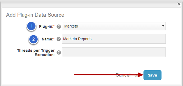 4. Select 'Marketo' from Plug-in picklist and input meaningful Name