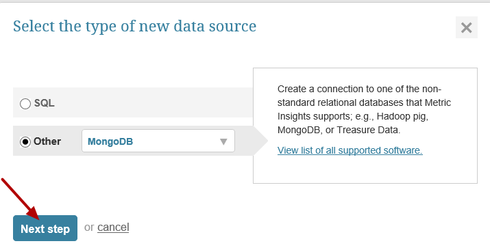 """Select """"Other"""" as Data Source Type and select MongoDB from the list."""