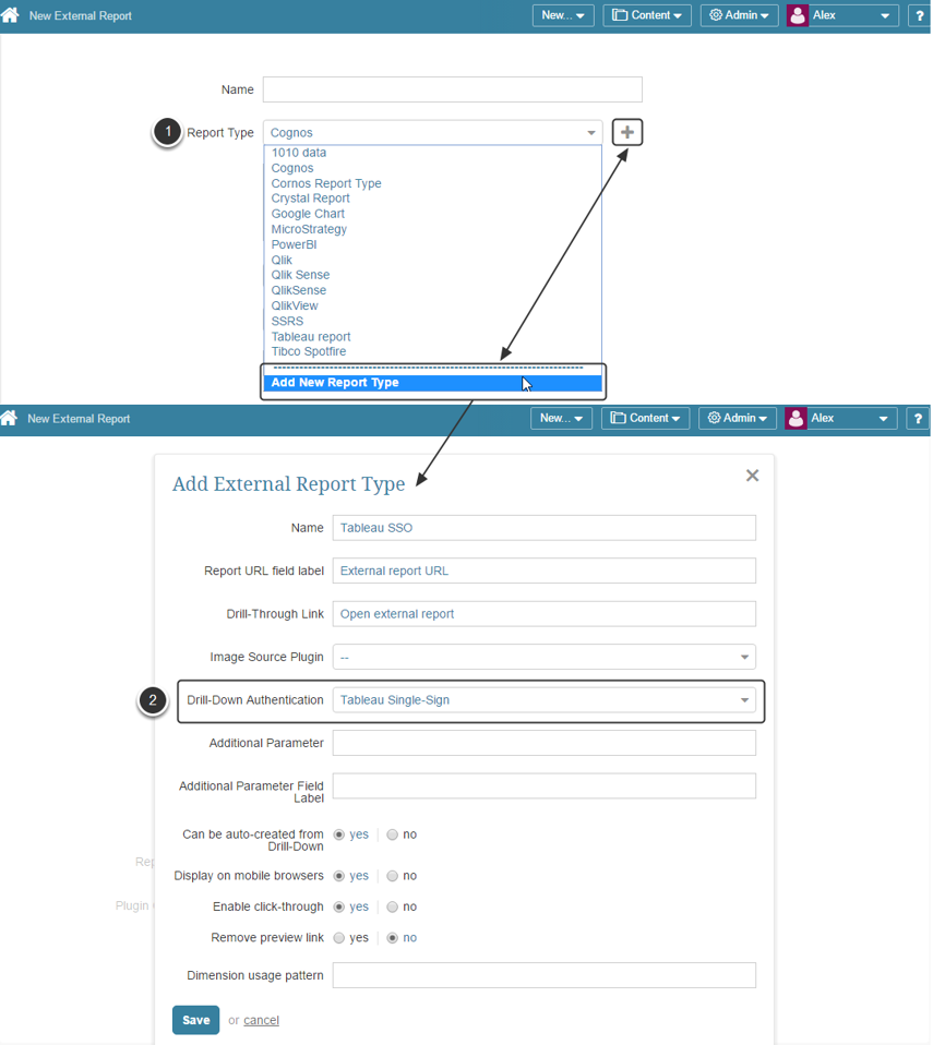Add External Report Type for Tableau SSO