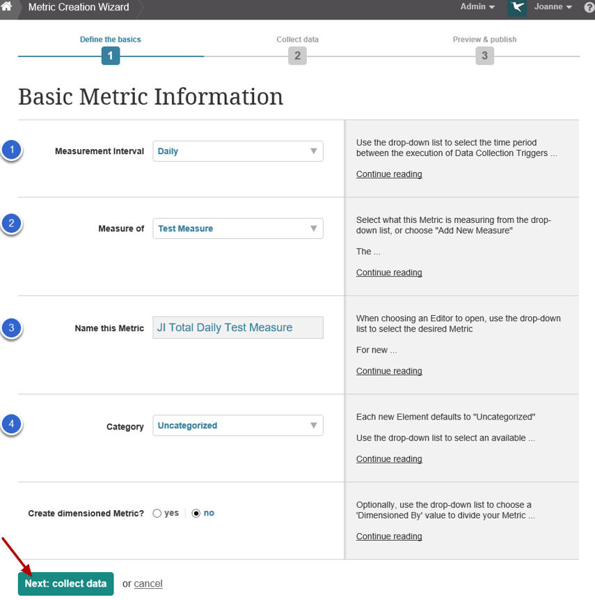 Provide basic information on Wizard (or Editor) - metric example
