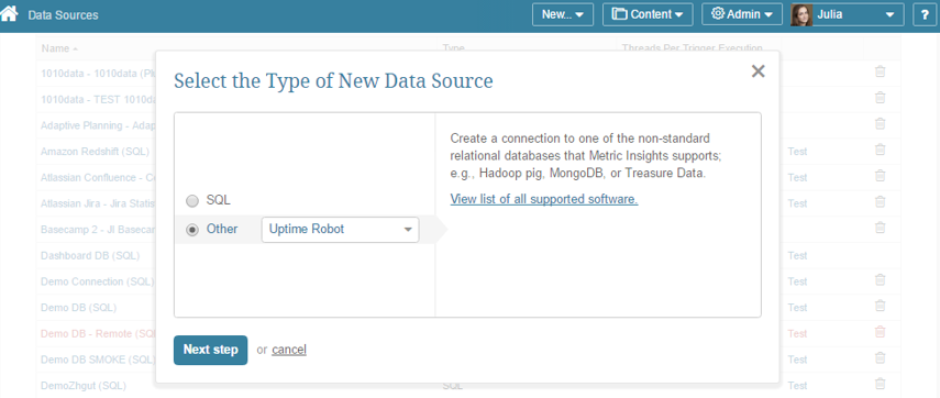 """Select """"Other"""" Data Source Type and choose """"Uptime Robot"""" from the drop-down list"""
