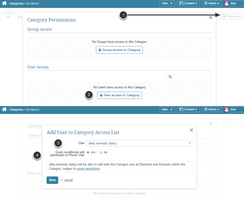 Content > Categories > select an existing Category or Add a new Category