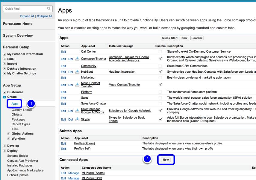 Use APP Setup Section in Left Sidebar