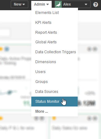 Access the Status Monitor from the Admin menu