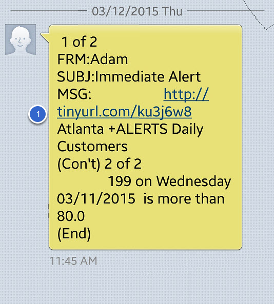 Example of an SMS alert