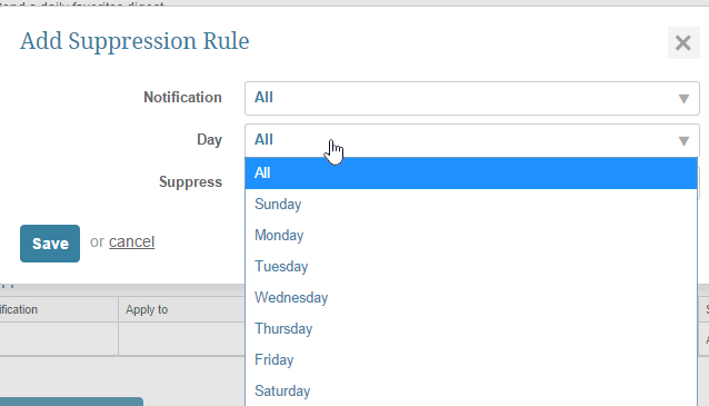 Add Suppression rules from pop-up