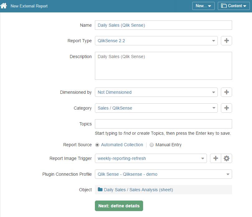 Access New > External Report > Qlik Sense