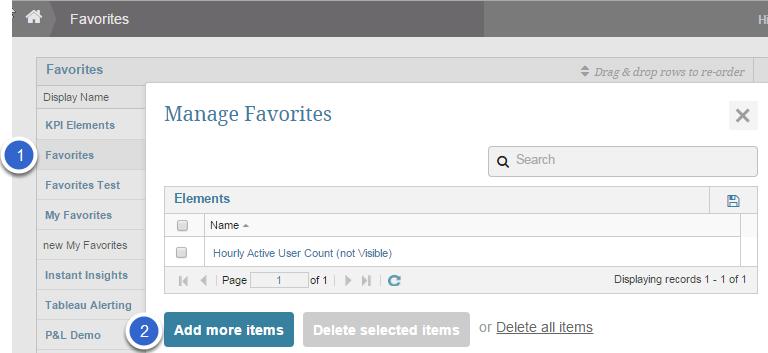 Open 'Manage Favorites' pop-up