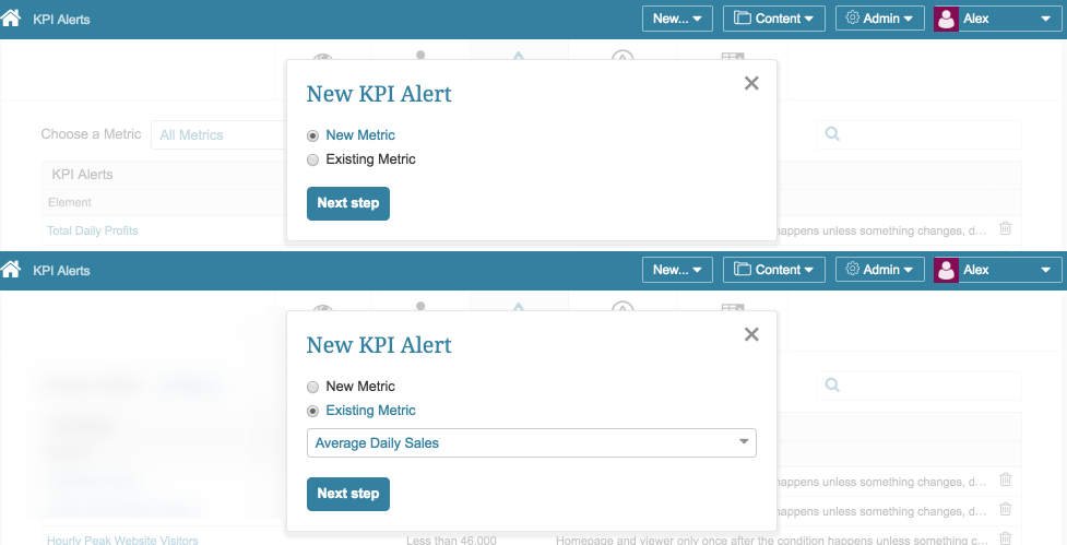 New KPI Alert pop-up