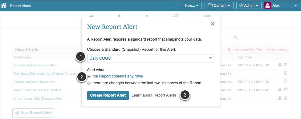 New Report Alert pop-up