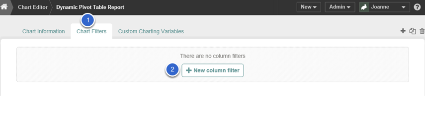 Add any desired Chart Filters