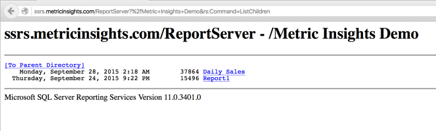 How does Metric Insights get the list of SSRS reports