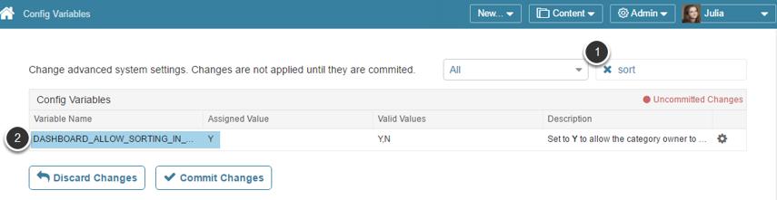 Access Admin > Utilities > Config Variables