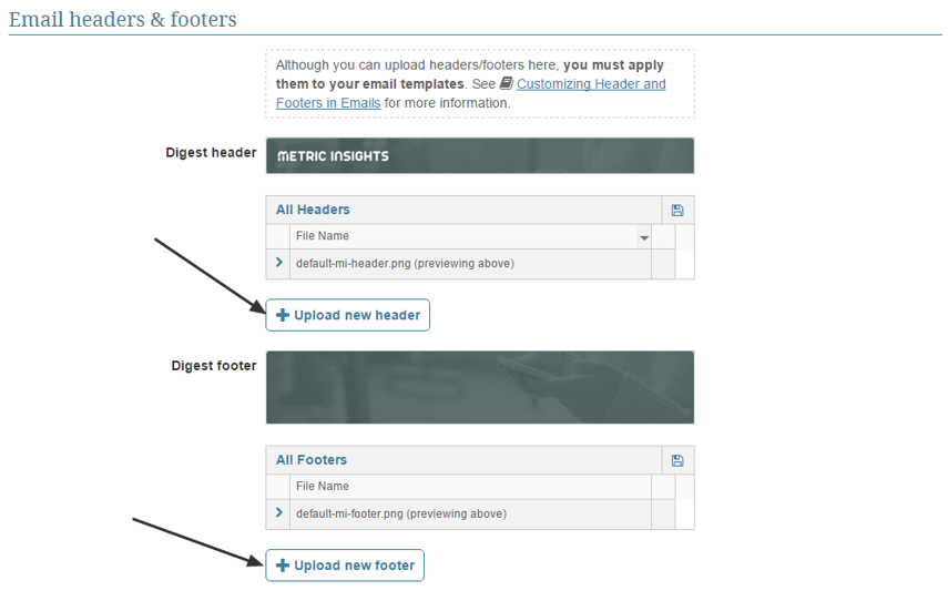 Providing custom Email headers & footers