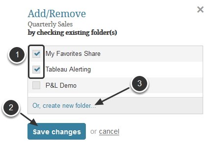 Add an element to Favorite folder(s)