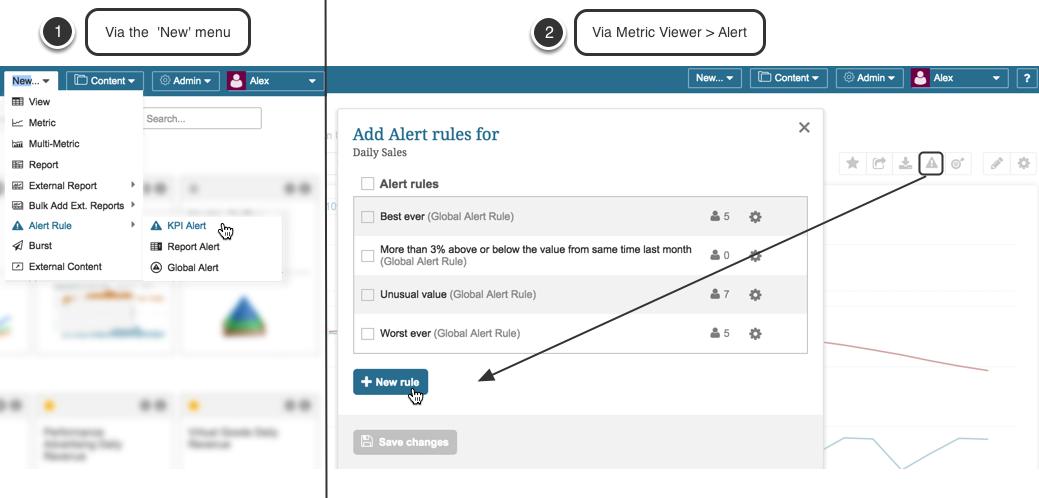 Create new KPI alert rule