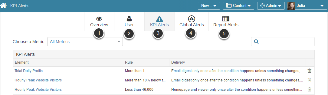 Admin Users can access all Alerts at Content > Alerts