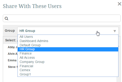 Or click 'Share with' link to display list of all Users in your system, or within a group to which you have access