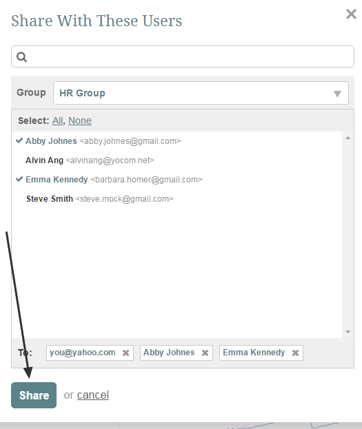 Click on User Names and press SHARE to add them to email list