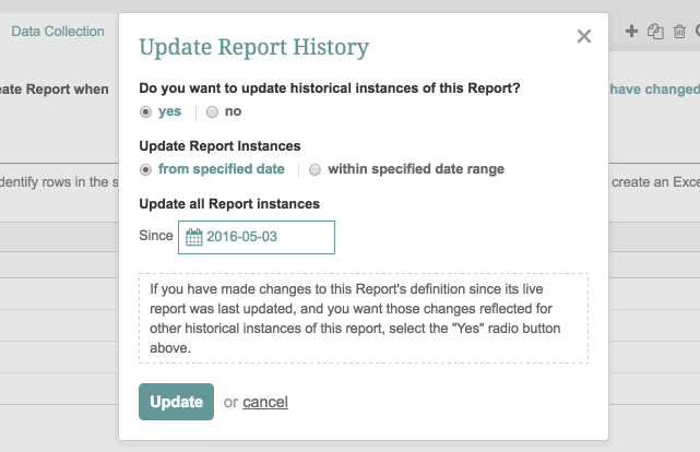 Load data into Change Report (Update live Report)