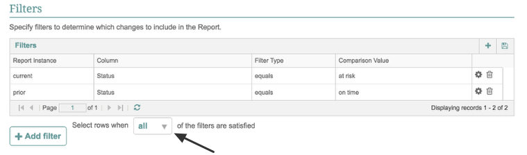 Filter Logic -- Choose what column to look for changes ( on time --> at risk)