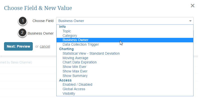 Choose the field and select the setting which should be applied to all selected elements