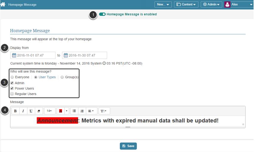 Configure Homepage Message