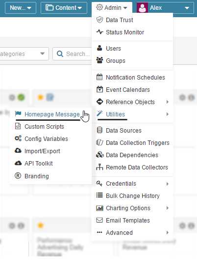 Open the Homepage Message setup screen