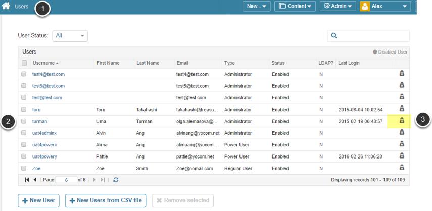 Access Admin menu > Users