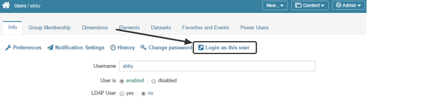 Alternatively, you can log in as a different user from the User Editor