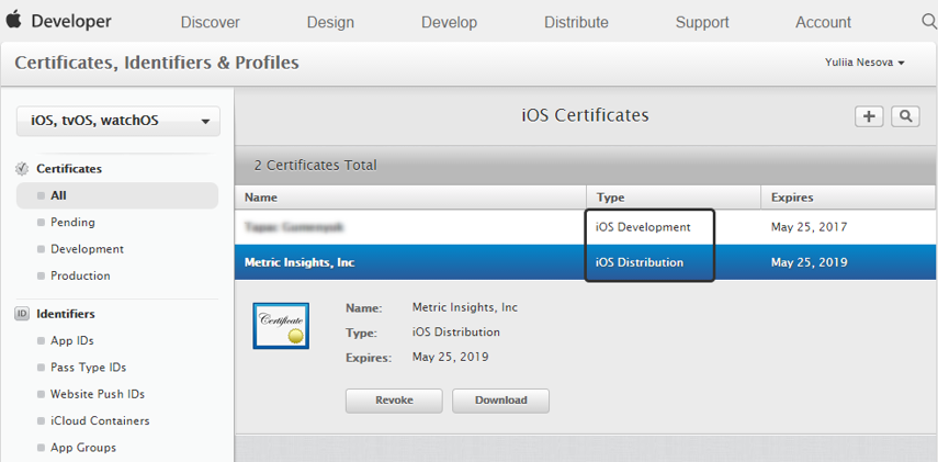 Create a 'Metric Insights' Certificate for Push Notifications