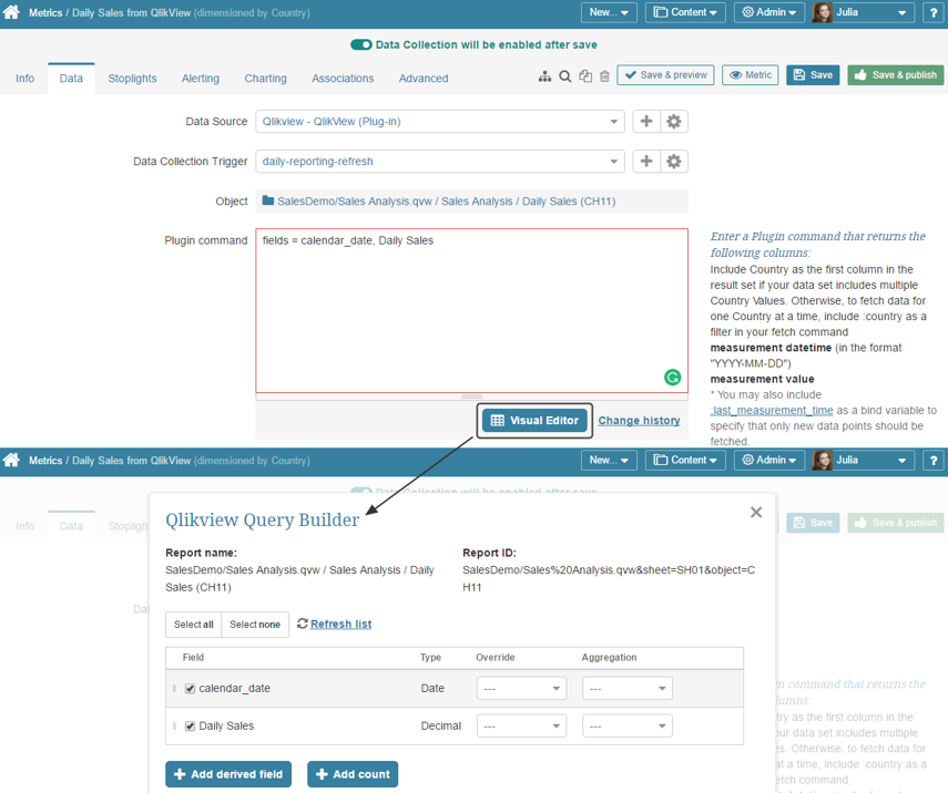 Visual Editor for constructing Plugin command